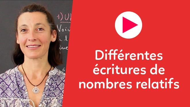 Différentes écritures de nombres relatifs