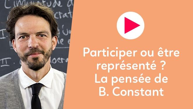 Participer ou être représenté ? La pensée de B. Constant