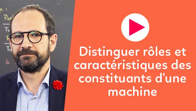 Distinguer les rôles et les caractéristiques des constituants d'une machine